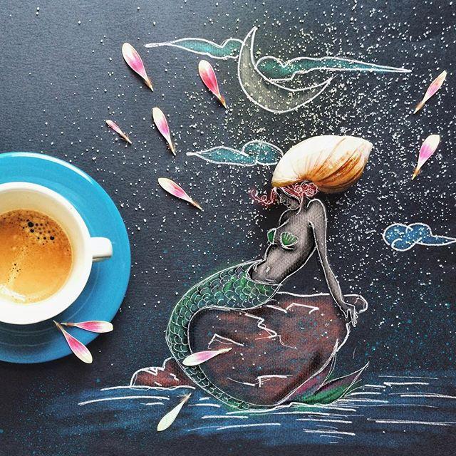 кофейные арт компиляции - Синтия Болоньези (Cinzia Bolognesi)- Песни сирены