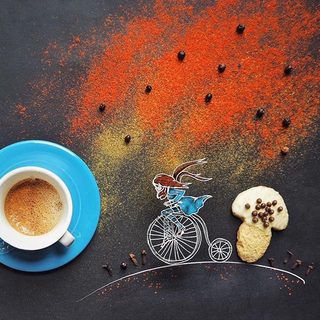 кофейные арт компиляции - Синтия Болоньези (Cinzia Bolognesi)-Вслед за мечтой