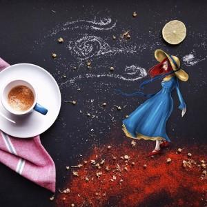 кофейные арт компиляции - Синтия Болоньези (Cinzia Bolognesi)-портрет на ветру