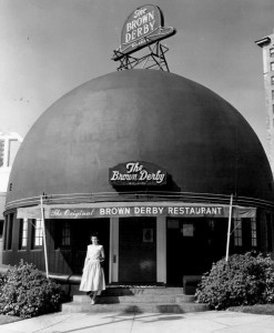 the original Brown Derby restaurant on Wilshire Boulevard in Hollywood_1956
