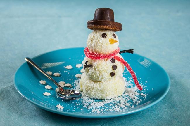 """Новогодний десерт """"Снеговик"""" из мороженого"""