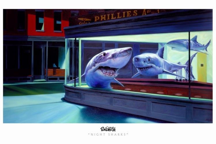 ночные акулы-пародийный ремейк на Полуночники-э.хоппер
