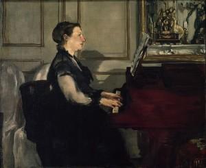 портрет музицирующей жены Мане (1868 год)