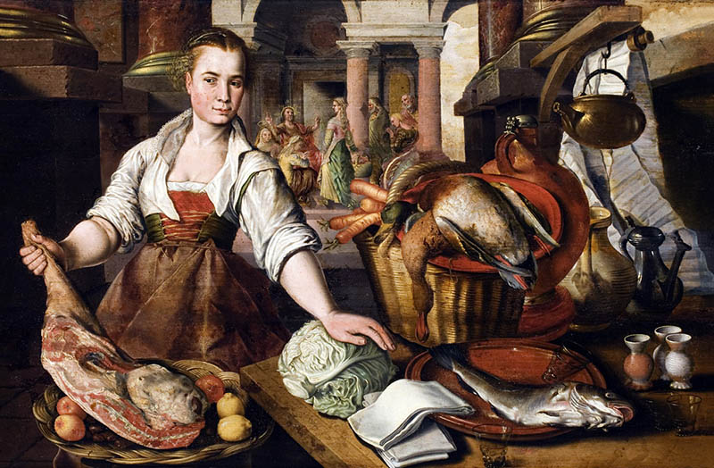 KITCHEN SCENE by Joachim Beuckelaer (or Bueckelaer), c1530-35-1573-4, in the Dining Room in the new house at Scotney Castle, Kent