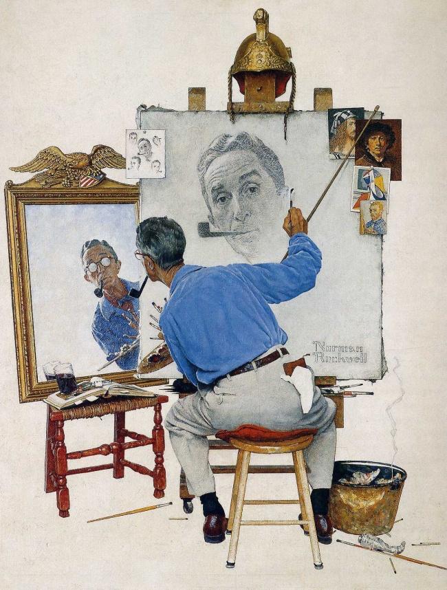 Норман Роквелл_Тройной автопортрет, 1960