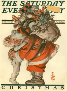 "covers for the Saturday Evening Post_ ""Hug from Santa"" (1925)_J.C. Leyendecker"