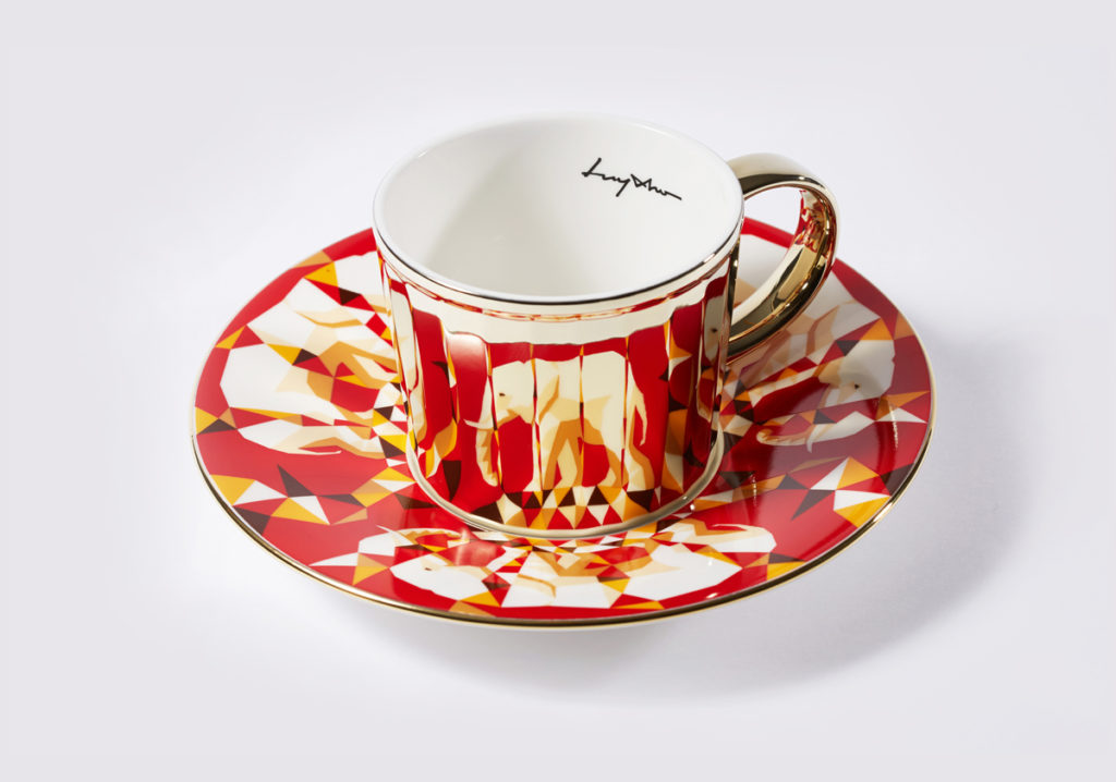 Зеркальный дизайн - чашка и блюдце - luycho-mirror-cup-исчезающие животные-слон