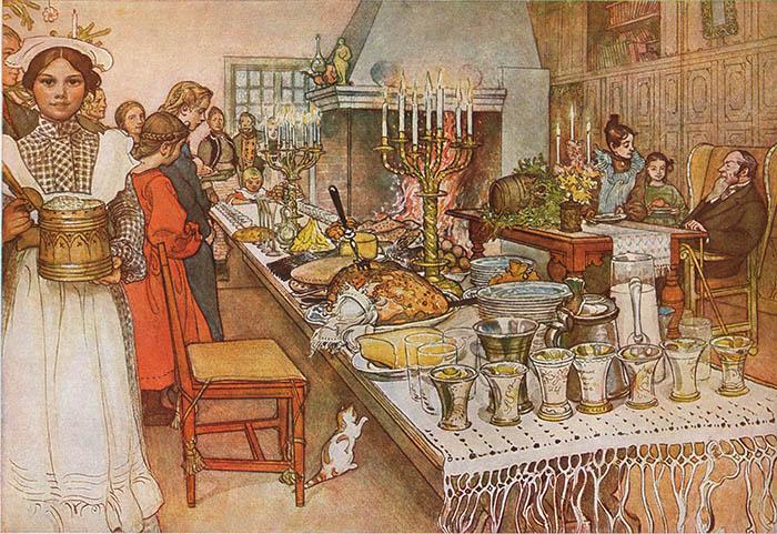 Художник Карл Ларссон Рождественский ужин, 1904