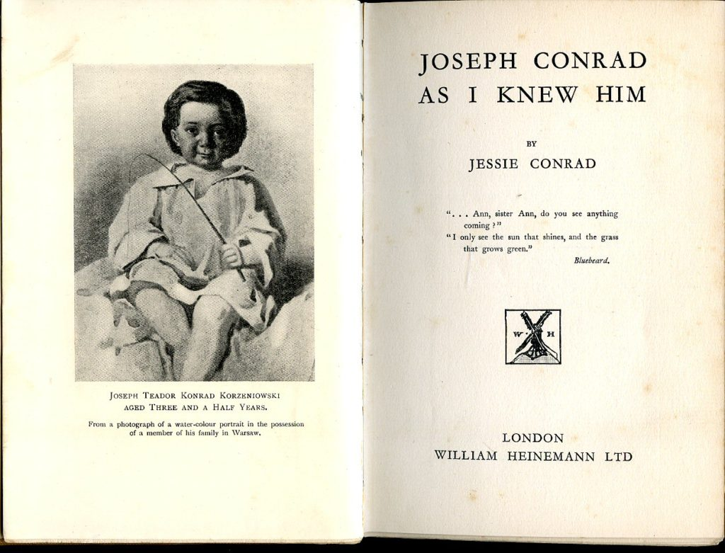 мемуары Джесси Конрад «Joseph Conrad As I Knew Him», (1926)