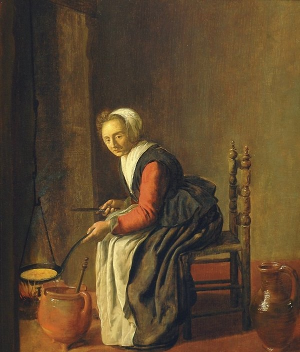 The pancake maker ca. 1645 by Jan Miense Molenaer ( Dutch, 1610-1668)
