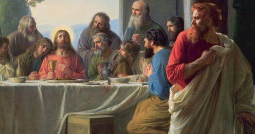 Иуда тайком покидает Тайную вечерю