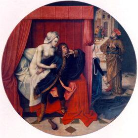Полотно неизвестного фламандского мастера. Иосиф и жена Потифара. Ок.1500 г.