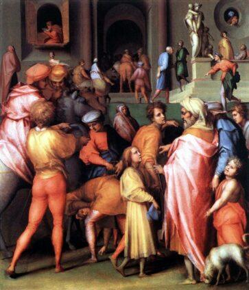 Картина Якопо Понтормо. Иосифа продают Потифару. 1515-18 гг.
