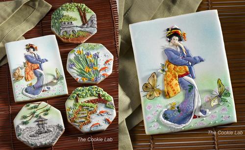 японские мотивы в росписи печенья глазурью